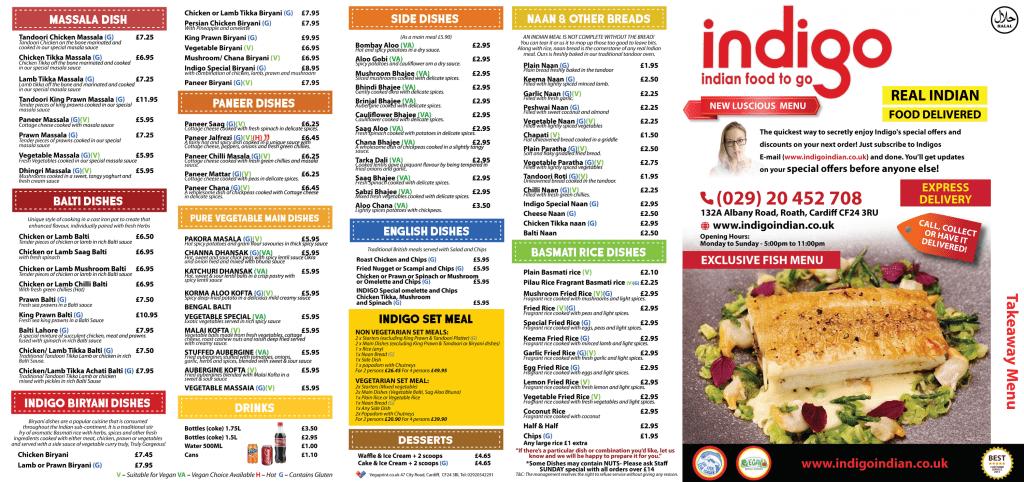 indigo menu